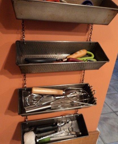 Bread loaf pans converted for storage....tack room idea... perhaps hoof picks etc
