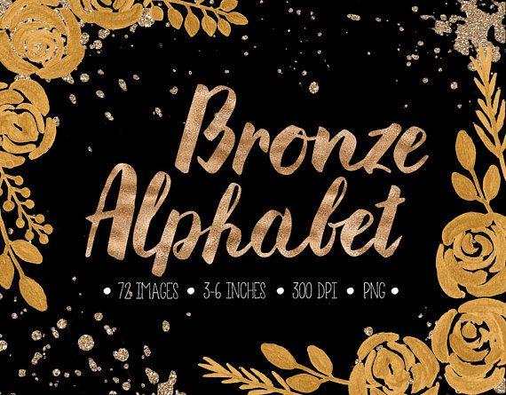 Bronze Alphabet Clip Art Gold Foil Letters Numbers Symbols Clip Art Lettering Bronze