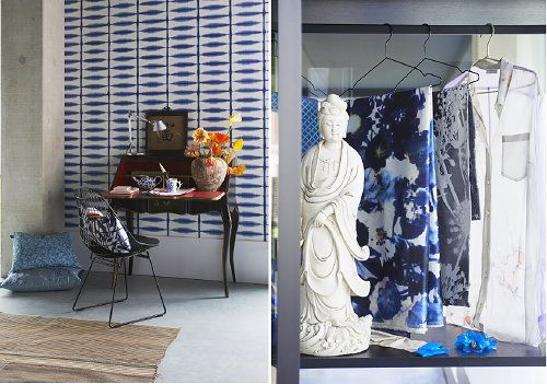 Interior Decoration Trend 2013 Eurasian - Global Living in a Furniture Mix where East Meets West - Cherry Wood Desk, Artemide Lamp Tokemeo, Antique Chinese Statue & White Blue Fabrics