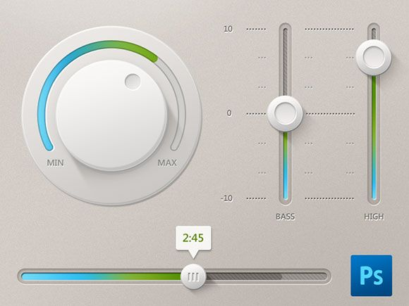 Free PSD light UI controls including a knob and some horizontal and vertical sliders with realistic shadows. Created by Dart 117.