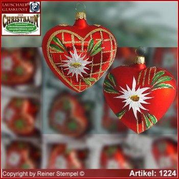 Christbaumschmuck aus Glas Herzen Set 12-tlg. 2-fach sortiert Landhaus Rot Lauschaer Glaskunst ®.