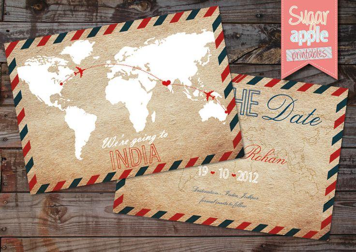 INVITATION Save the date Destination indian wedding INDIA postcard Destination Wedding World Map Save the Date Card. $14.00, via Etsy.