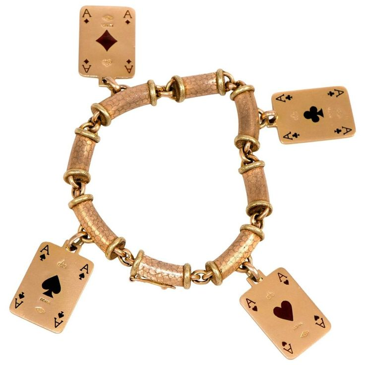 1970s Cazzaniga, Enamel and Gold Playing Card Charm Bracelet   From a unique collection of vintage charm bracelets at https://www.1stdibs.com/jewelry/bracelets/charm-bracelets/