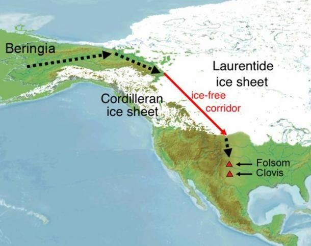 THE EARLY SETTLEMENT OF THE AMERICAS IS A SUBJECT OF CONTROVERSIAL DEBATE. A LONGSTANDING HYPOTHESIS CLAIMED THAT THE FIRST MIGRATION TOOK PLACE 12,600 YEARS AGO THROUGH AN ICE-FREE CORRIDOR BETWEEN RETREATING NORTH AMERICAN GLACIERS, VIA THE ICE-AGE BERING LAND BRIDGE BETWEEN SIBERIA AND ALASKA. IN RECENT YEARS, HOWEVER, THIS THEORY IS BEING INCREASINGLY CALLED INTO QUESTION BY NEW FINDS FROM NORTH AND SOUTH AMERICA.