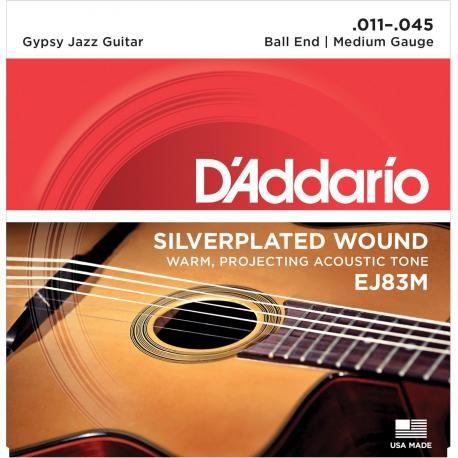 """Juegos Acústica - Cuerdas de Guitarra - D'Addario 473DD052F - D'Addario EJ83M Gypsy Jazz Medium [11-45].Juego de Cuerdas para Guitarra Acústica Gypsy Jazz (11 - 15 - 24 - 29 - 35 - 45). Las cuerdad D'Addario Gypsy Jazz estan especialmente diseñadas para el estilo """"Django"""". Cobre chapado en plata es enrollado sobre un núcleo de acero de alto carbono, ofreciendo un tono cálido y con una gran proyección, ideal para cualquier estilo de guitarra Gypsy Jazz #Rebajas #Descuentos #Sales #Discounts"""