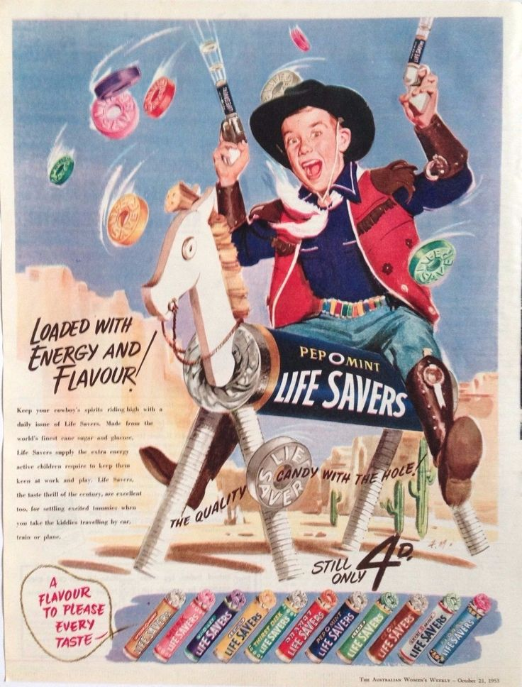 Life Savers Sweets AD Horse Cowboy 1953 Original Vintage Australian Advertising