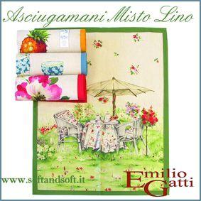 PICTURES  Set 4 Asciugamani Cucina cm 60x75 Misto Lino Tessitura