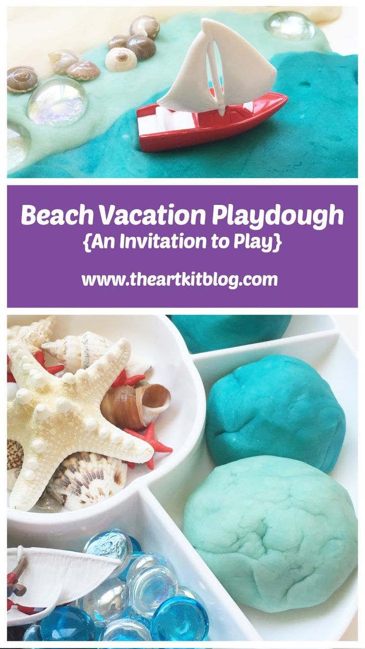 Beach Themed Playdough Activity{An Invitation to Play} If you can't go on a beach vacation, bring the beach vacation to you, right? This playdough setup has it all,