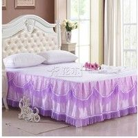 Wish | 1 Pieces Solid Color Lace Luxury Bedskirts King Size Queen Bed skirts/bedspread Bed Sheet Set