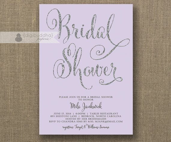 Silver Glitter Bridal Shower Invitation Pastel Purple Lavender Wedding ...