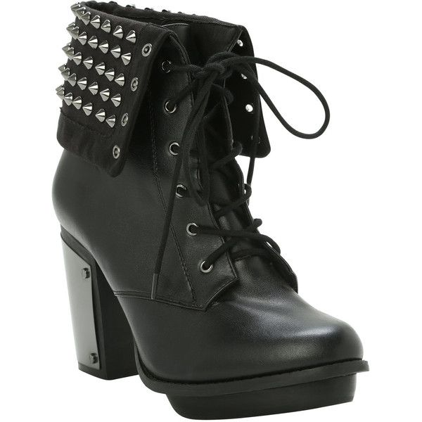 Hot Topic Studded Combat Boot Heel ($60) found on Polyvore featuring women's fashion, shoes, boots, ankle booties, heels, ankle boots, black booties, high heel ankle booties, high heel bootie and black studded booties