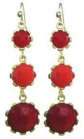 Triple Delight Goldtone Fashion Earrings (Red) Maggie T New York