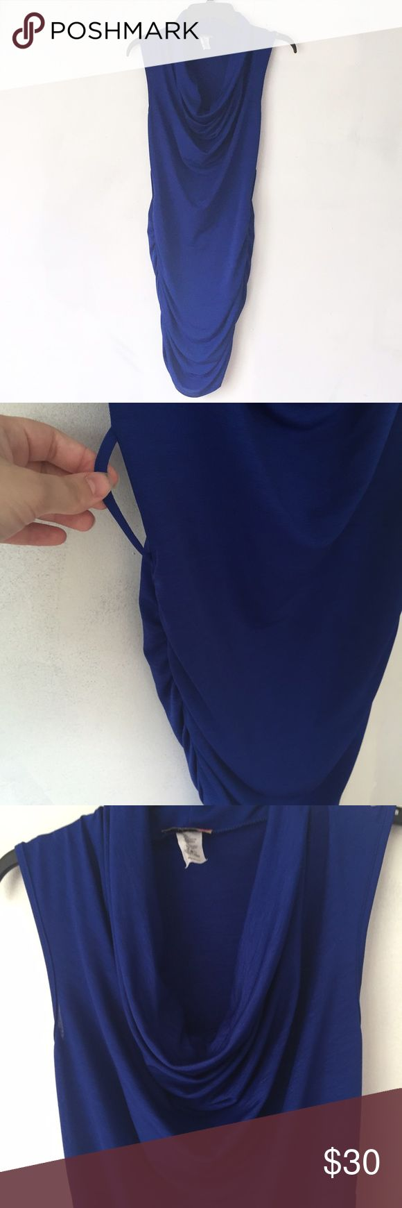 Body Central Fitted Dress Royal blue sleeveless dress. Can be worn with a belt. Ruched at sides. Draped neck. Worn once Body Central Dresses Midi