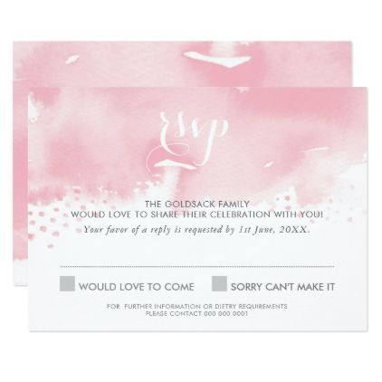 #RSVP REPLY RESPONSE stylish watercolor pale pink Card - #weddinginvitations #wedding #invitations #party #card #cards #invitation #modern