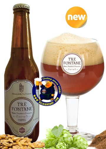 Our New Beer: Tre Fontane Trappist Tripel 8.5°  Available at http://store.belgianshop.com/trappist-beers/1680-tre-fontane-trappist-tripel-85-13l.html  The newest trappist beer, officially called Tre Fontane Tripel Birra Trappista Italiana. Tre Fontane Tripel is the last beer added to the the list of 'trappist beers', added in 2015. Unfiltered ale brewed with eucalyptus grown by the abbey. This craft beer, flavored with eucalyptus leaves, is a unique...