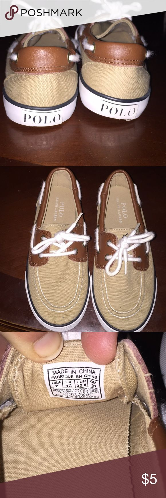 Ralph Lauren polo boys boat shoes Ralph Lauren polo boys size 2 boat shoes. Used, only worn a couple times. Like new. Could use new shoe strings. When I cleaned them the shoe strings came out fuzzy. Great for Easter pictures! Polo by Ralph Lauren Shoes Dress Shoes