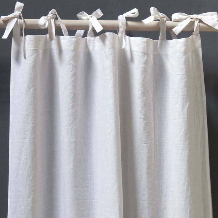 Pom Pom at Home Curtain Panel Tie Top Organic Linen @Layla Grayce.