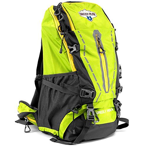 45L Internal Frame Hiking and Camping Daypack Backpack with Ripstop WaterResistant Nylon by Grizzly Peak Lime * Continue to the product at the image link.