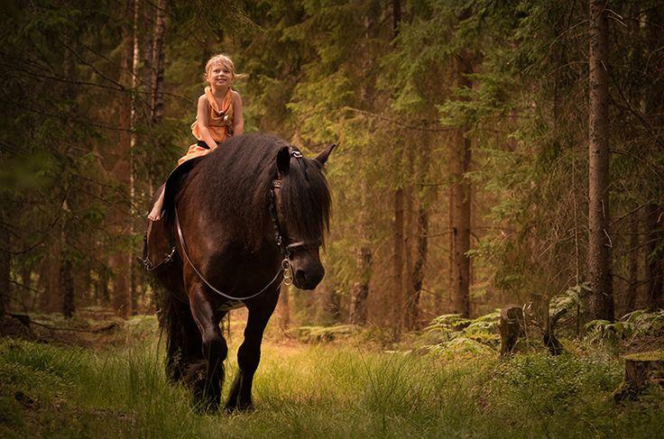 Black horse and little girl in forest. Draft horse. North Swedish Draft Horse. Golden light. Swedish nature. Fairytale photo. Magical photo. Warrior princess. Sword. Fine art photography. Nordsvensk brukshäst. Fotosaga. Saga. By Swedish photographer Maria Lindberg.