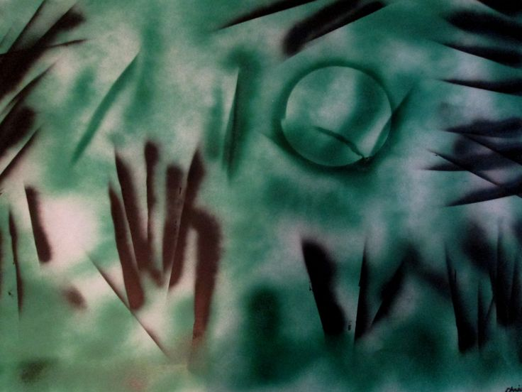 """""""dark night"""" 70x100  cardboard, acrylic spray Kimona"""