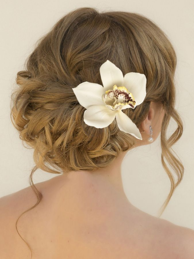 Low Curly Hair Style Http Www Haircomesthebride Com White Tropical Orchid Hair Clip Sariah Weddingh Flowers In Hair Orchid Hair Flowers Silk Hair Flower