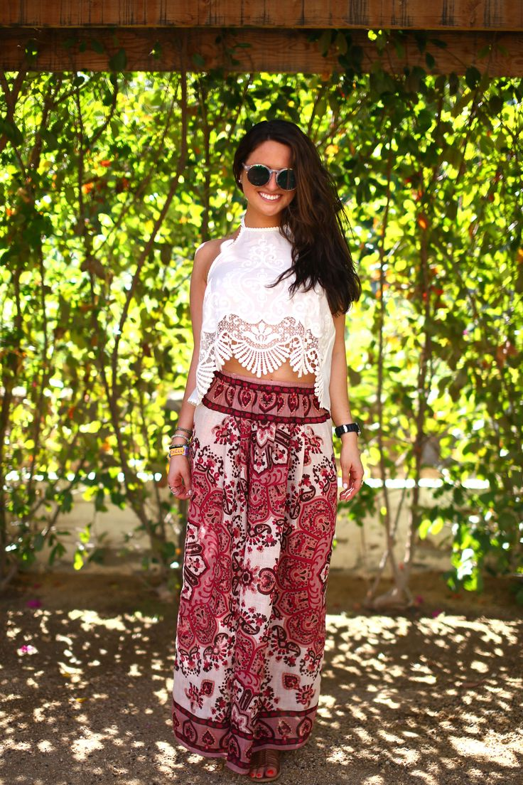 Maxi skirts, like this one from Theodora & Callum, pair perfectly with little lace crop tops