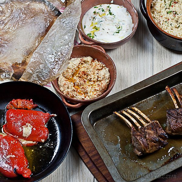 Jamie Oliver's 30 min meals -Moroccan Lamb Chops, Herby Couscous & Stuffed Peppers