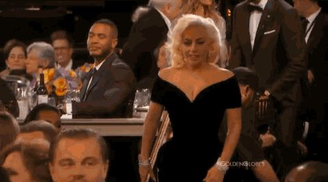 As Lady Gaga walked up to the stage to receive her Golden Globe tonight for American Horror Story, she bumped into Leonardo DiCaprio