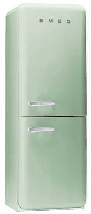 50's Retro style 50's Style Refrigerator-freezer Pastel green, Right hand hinge