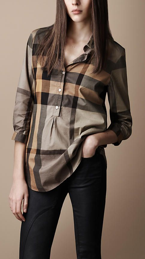 Burberry | Check Tunic Shirt | Light Military Khaki $395
