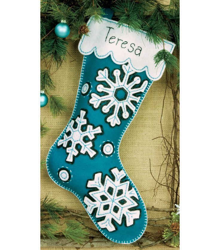 DIMENSIONS-Felt Applique Kit: Stocking. Classic designs and high- quality materials make up each Dimensions kit. This kit contains die-cut felt; pre-sorted thread; needle; and easy instructions with a