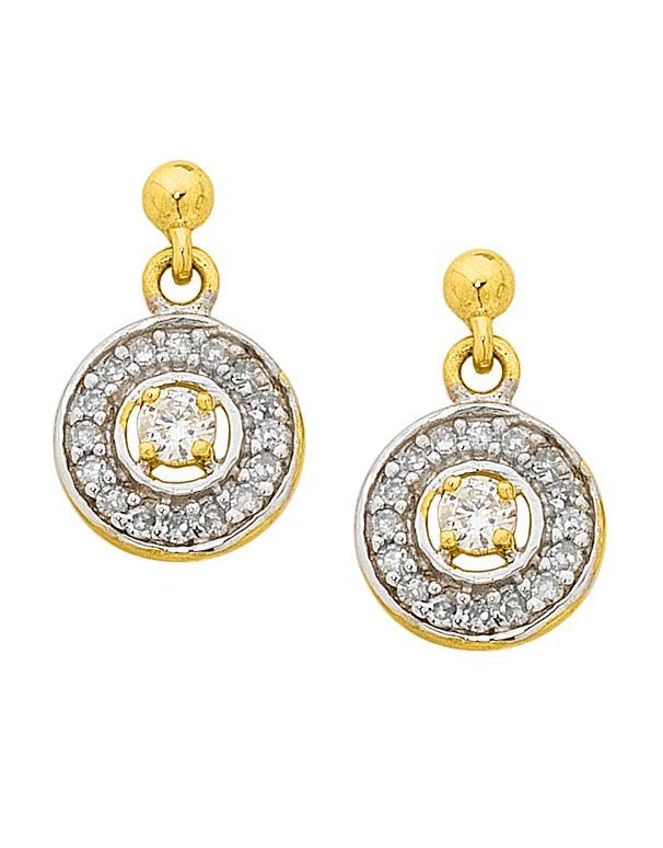 Diamond Earrings - Diamond Set Two Tone Gold Earrings - 750603