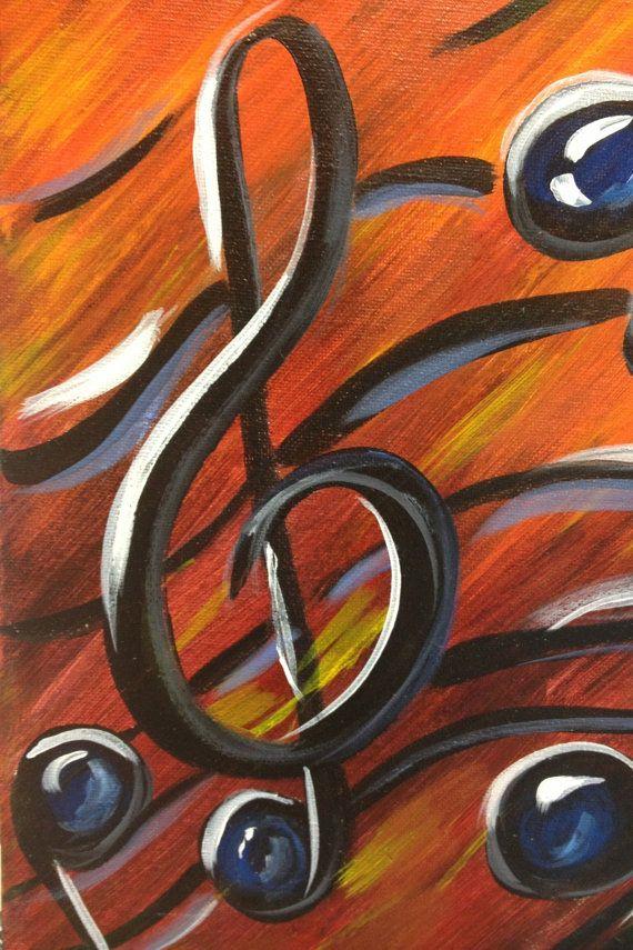 Notas de la música pintura de acrílico de 9 x por ArtsyChattanooga