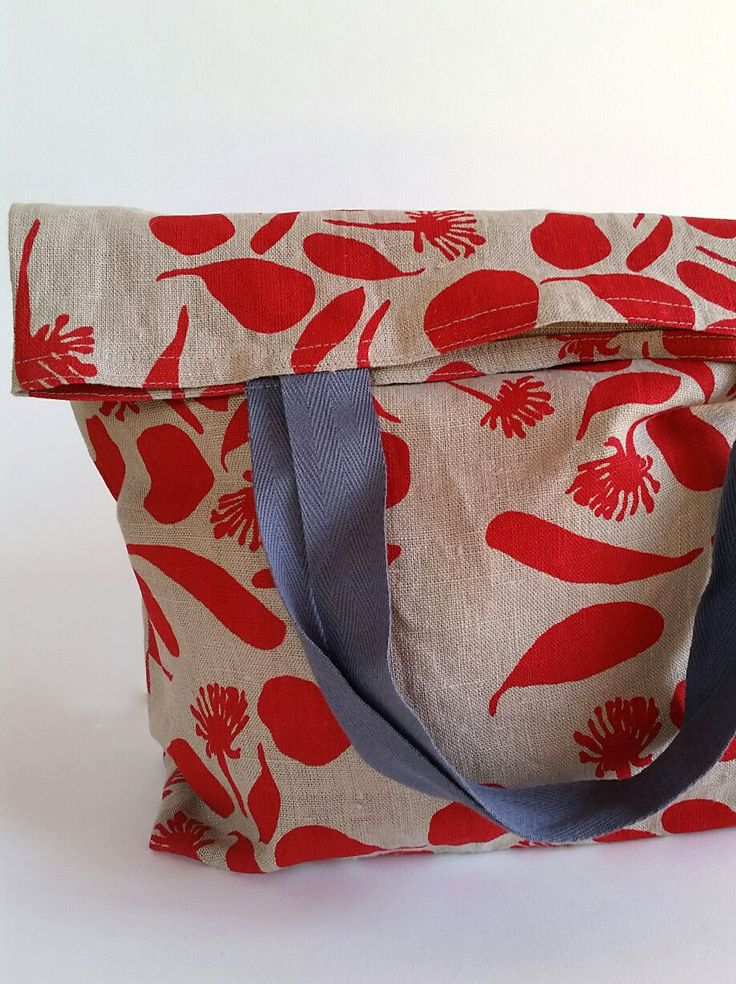 Market bag/shopping bag/tote bag linen with red screen printed botanical print by FemkeTextiles on Etsy