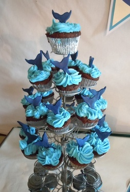 whale party - tail cupcake toppers