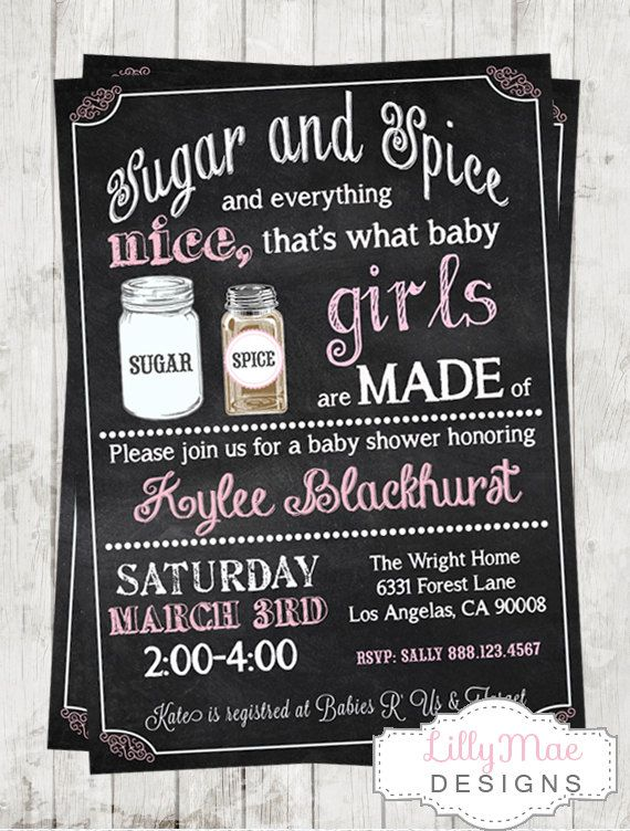 Sugar and Spice Chalkboard Baby Shower Invitation- Digital File on Etsy, $13.00