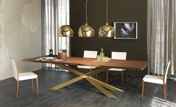 grande table à manger en bois massif et métal de design italien contemporaine par Cattelan Italia