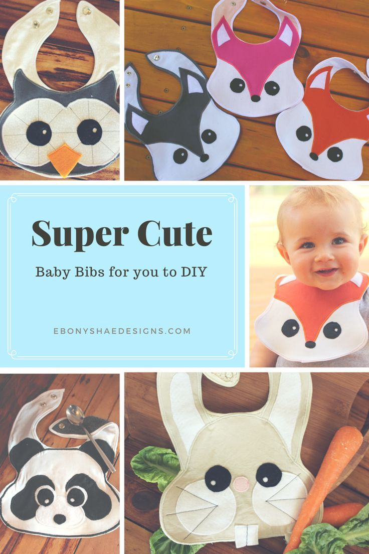 Super cute sewing patterns for baby bibs. Fox bib, panda bib, bunny bib and an owl bib pattern available. Makes a great gift from the heart for a new baby.