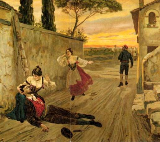 "Verga, ""Cavalleria Rusticana""-Illustration from an early edition of Giovanni Verga's short story Cavalleria rusticana, on which the opera is based."