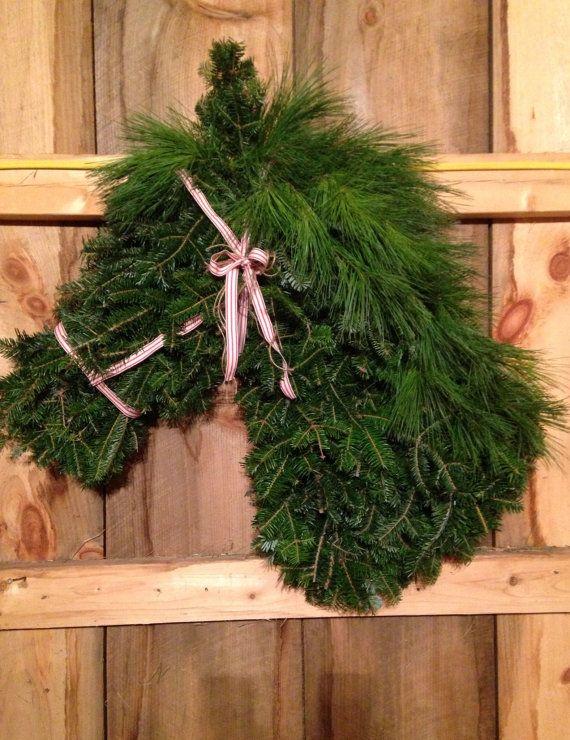Horse Head Wreath  Fresh Christmas Wreath by WhitetailLaneFarm