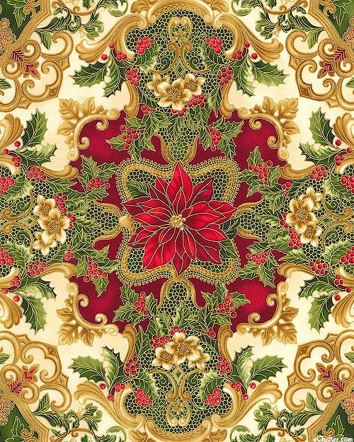 eQuilter Holiday Flourish - Rococo Medallions - Cream/Gold