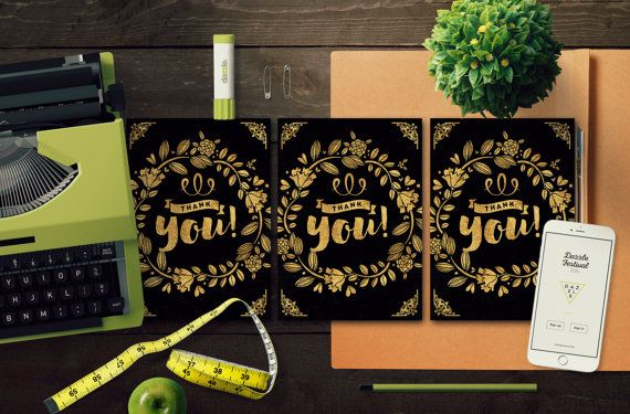 Gold Foil Style Thank You Card Template by MintedCrafts on Etsy