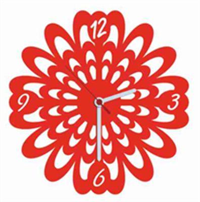 Flower Kırmızı Kadife Duvar Saati 33 cm   cazip geldi