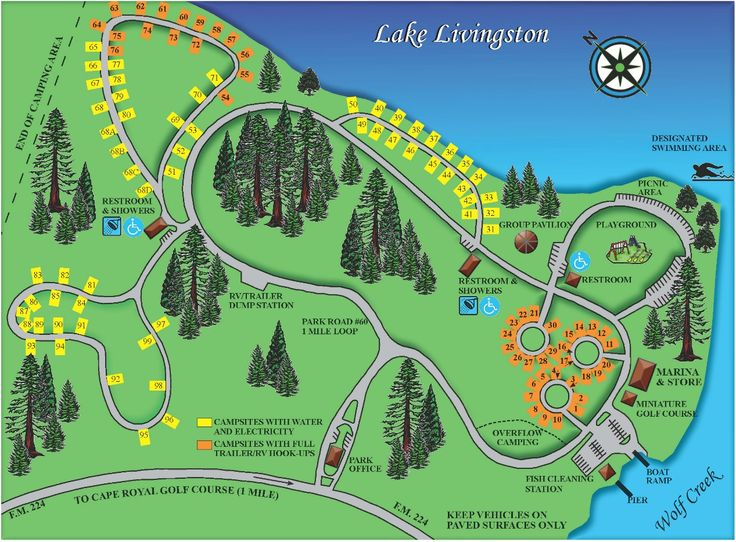 Wolf Creek Park map - Lake Livingston, Coldspring, TX.
