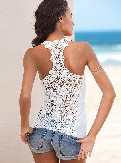 Crochet Raceback Tank: Summer Shirts, Lace Tops, Victoria Secret, Tanks Tops, Summer Outfits, White Lace, Lace Back, Lace Shirts, Racerback Tanks