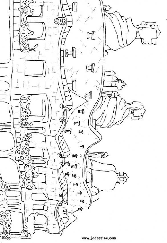 Architecture of Gaudi Pedrera-great coloring pages