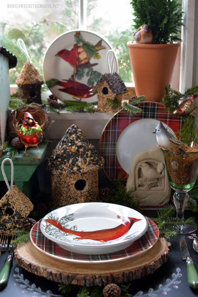 Winter nesting and woodland tablescape with birds in the Potting Shed with bird ornaments, birdhouses and winter fauna plates   homeiswheretheboatis.net