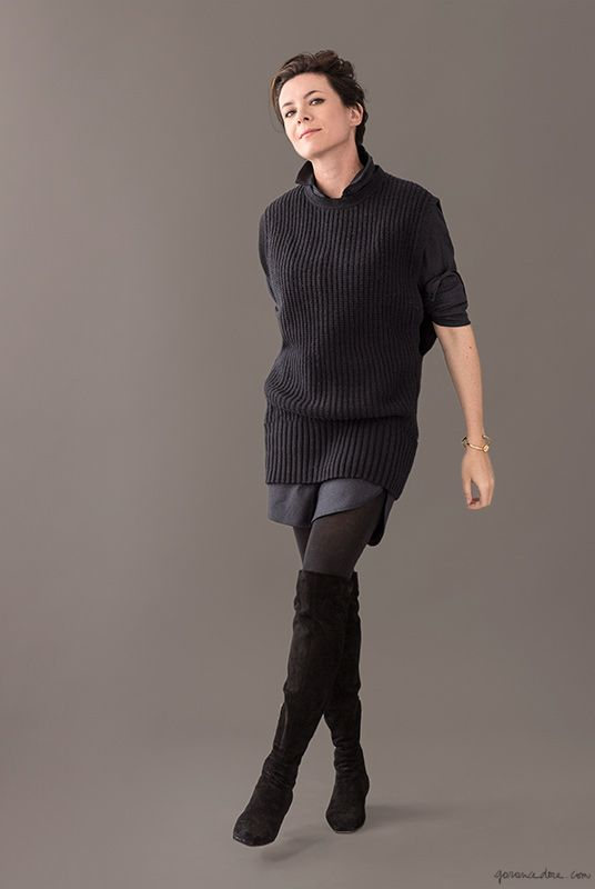 Over the knee boots, Gianvito Rossi, sweater Vest, All Saints; Blue Dress, Steven Alan / Garance Doré