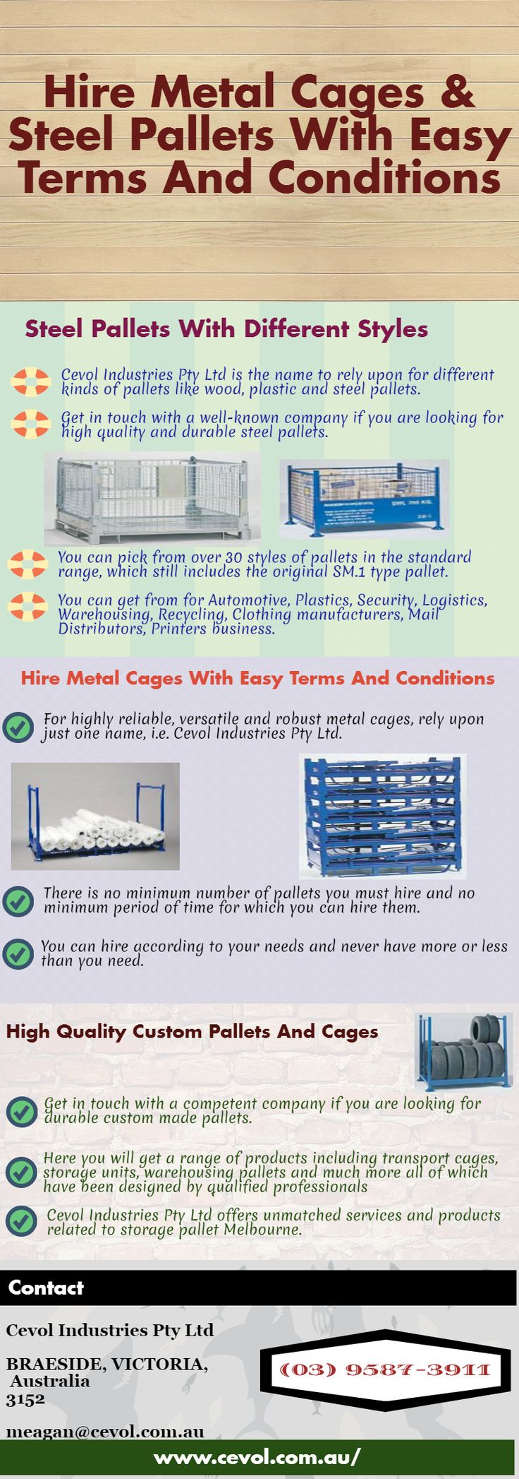 Get a wide range of pallets by reaching out to Cevol Pallet Hire.