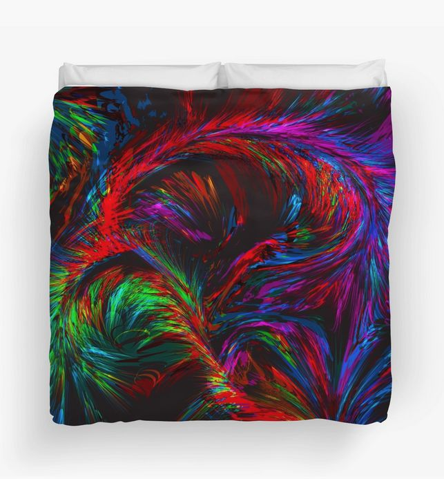 """Warm, unique and colorful, """"Painted Feathers"""" Duvet Cover by Steel Graphics."""